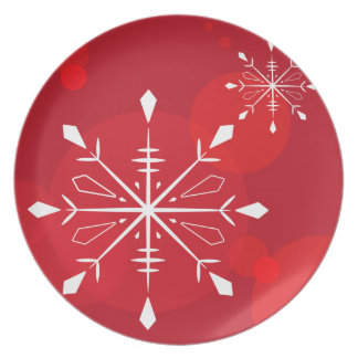 Red Snowflake Plate