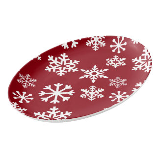 Red Snowflake Serving Platter - Christmas