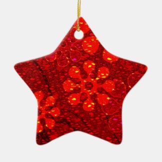 Red snowflake star ceramic star ornament