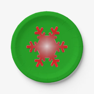 Red Snowflake Starburst on Green Paper Plate