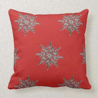 Red Snowflake Throw Pillow