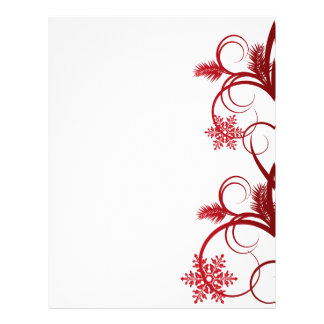 Red Snowflakes and Curls Letterhead