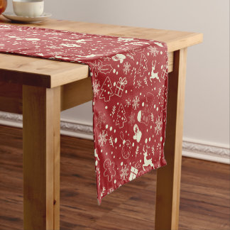 Red snowflakes deer pattern - Xmas gifts Short Table Runner