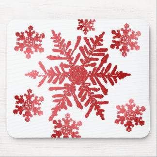 Red Snowflakes Mouse Pad