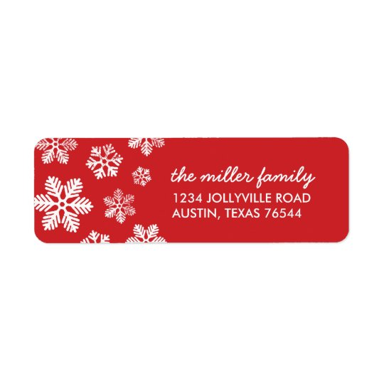 Red Snowflakes Personalized Address Labels