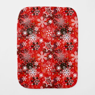 Red Snowflakes Retro Christmas Holiday Gift Burp Cloth
