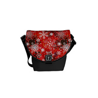 Red Snowflakes Retro Christmas Holiday Gift Courier Bag