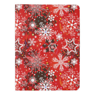 Red Snowflakes Retro Christmas Holiday Gift Extra Large Moleskine Notebook