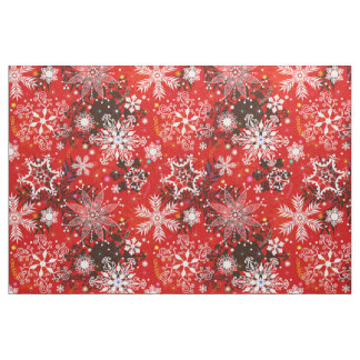 Red Snowflakes Retro Christmas Holiday Gift Fabric