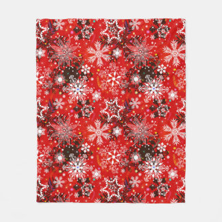 Red Snowflakes Retro Christmas Holiday Gift Fleece Blanket
