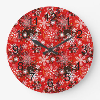 Red Snowflakes Retro Christmas Holiday Gift Large Clock