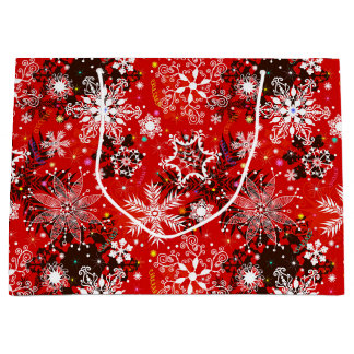 Red Snowflakes Retro Christmas Holiday Gift Large Gift Bag