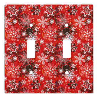 Red Snowflakes Retro Christmas Holiday Gift Light Switch Cover