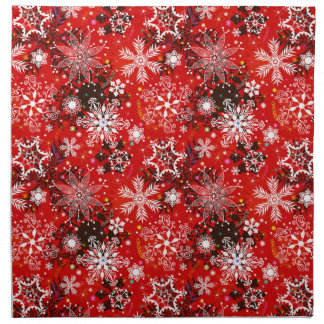 Red Snowflakes Retro Christmas Holiday Gift Napkin
