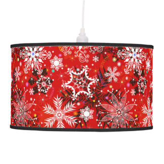 Red Snowflakes Retro Christmas Holiday Gift Pendant Lamp
