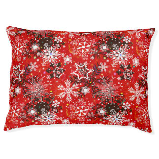 Red Snowflakes Retro Christmas Holiday Gift Pet Bed