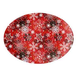 Red Snowflakes Retro Christmas Holiday Gift Porcelain Serving Platter
