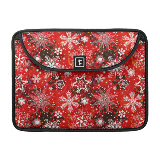 Red Snowflakes Retro Christmas Holiday Gift Sleeve For MacBooks