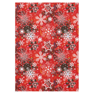 Red Snowflakes Retro Christmas Holiday Gift Tablecloth