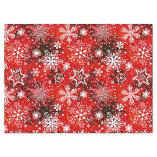Red Snowflakes Retro Christmas Holiday Gift Tissue Paper