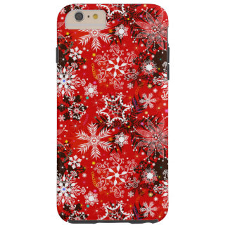 Red Snowflakes Retro Christmas Holiday Gift Tough iPhone 6 Plus Case