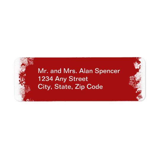 Red Snowflakes Wedding Labels