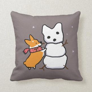 Red Snowman Corgi Pillow