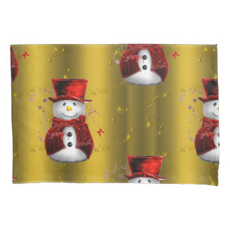 Red Snowmen on Gold Pillowcase