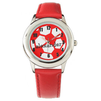 Red Soccer Ball and Name Wristwatch