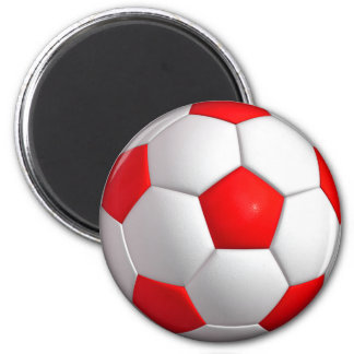 Red Soccer Ball Magnet