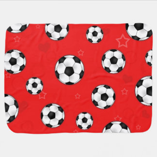Red Soccer Ball Pattern Stroller Blankets