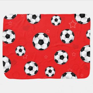 Red Soccer Ball Pattern Stroller Blankets