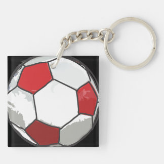 Red Soccer ball sketch Keychain