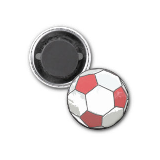 Red Soccer ball sketch Magnet