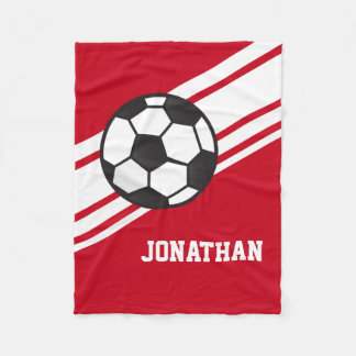 Red Soccer Ball Sports Personalized Name Fleece Blanket
