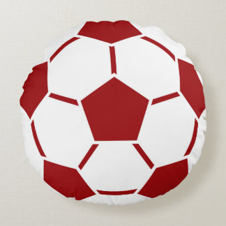 Red Soccer Ball Sports Team Round Pillow