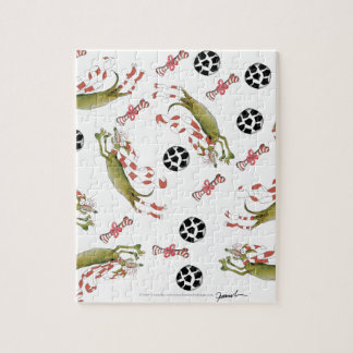 red soccer dog, bones balls jigsaw puzzle