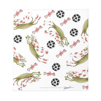 red soccer dog, bones balls notepad
