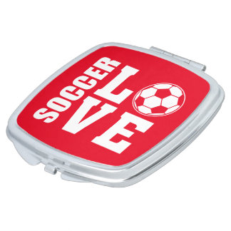 Red Soccer Love, Travel Compact Mirror