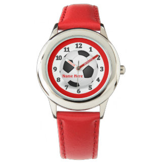 Red Soccer Watches for Kids with Their NAME