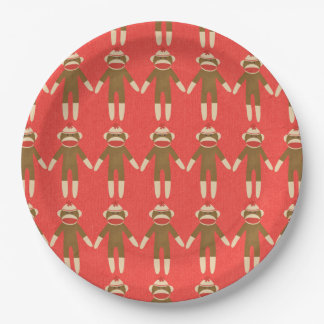 Red Sock Monkey 9 Inch Paper Plate