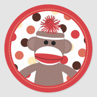 Red Sock Monkey Favor Sticker Seals - Baby Shower