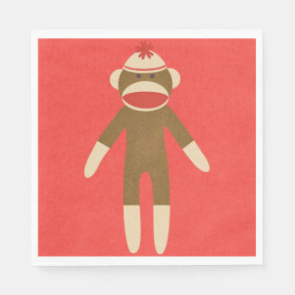 Red Sock Monkey Paper Napkin
