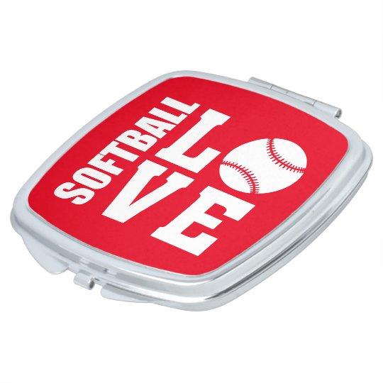 Red Softball Love, Softball Vanity Mirror