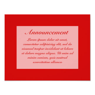 "Red Solids + Custom Color 4.25"" X 5.5"" Invitation Card"