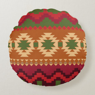red southwest pattern -  western abstract art round pillow