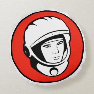 Red Soviet Cosmonaut Round Pillow