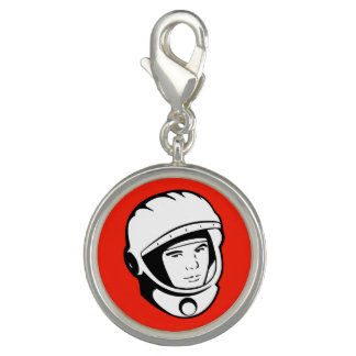 Red Soviet Cosmonaut Silver Plated Charm