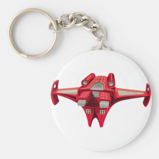 Red spaceship with engine on top basic round button keychain