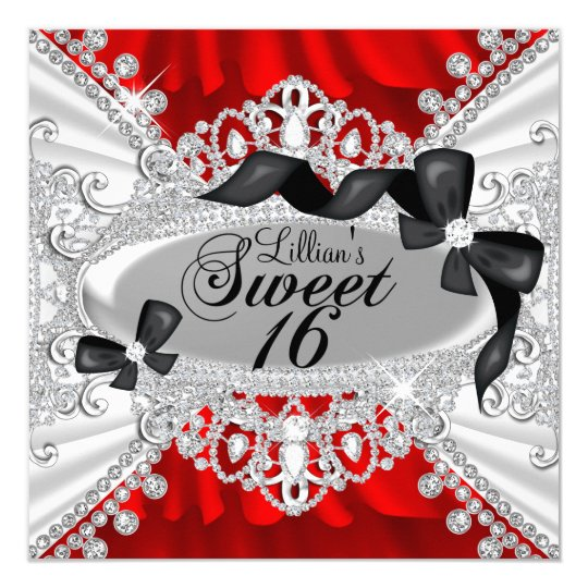 Red Sparkle Diamond & Bow Sweet 16 Invite